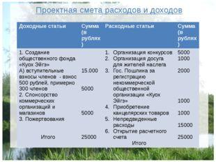 Проектная смета расходов и доходов Доходные статьи Сумма (в рублях) Расходные