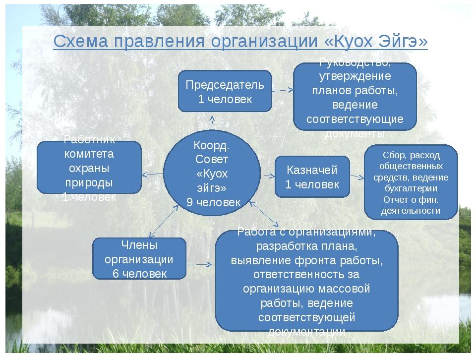 Схема правления организации «Куох Эйгэ» Коорд. Совет «Куох эйгэ» 9 человек Ка...