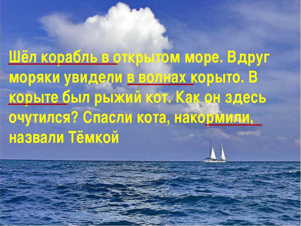 Шёл корабль в открытом море. Вдруг моряки увидели в волнах корыто. В корыте...