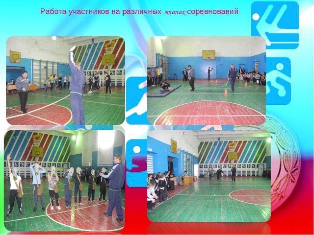Работа участников на различных этапах соревнований
