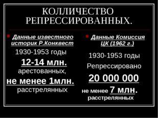 КОЛЛИЧЕСТВО РЕПРЕССИРОВАННЫХ. Данные известного историк Р.Конквест 1930-1953