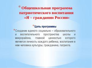 Общешкольная программа патриотического воспитания «Я – гражданин России» Цель