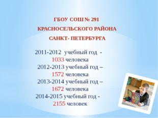 2011-2012 учебный год - 1033 человека 2012-2013 учебный год – 1572 человека