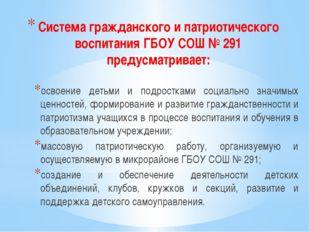Система гражданского и патриотического воспитания ГБОУ СОШ № 291 предусматрив