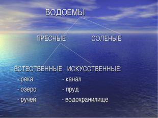ВОДОЕМЫ ПРЕСНЫЕ СОЛЕНЫЕ ЕСТЕСТВЕННЫЕ ИСКУССТВЕННЫЕ: - река - канал - озеро -