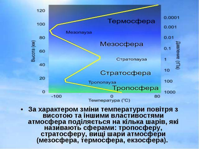 За характером зміни температури повітря з висотою та іншими властивостями атм...