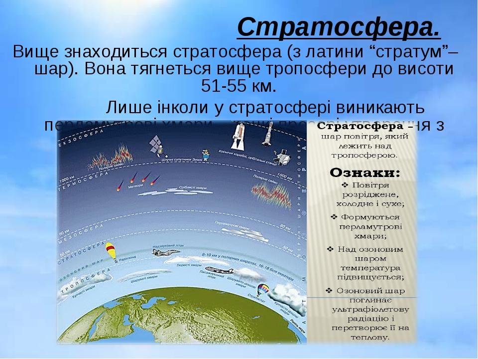 "Стратосфера. Вище знаходиться стратосфера (з латини ""стратум""– шар). Вона тяг..."