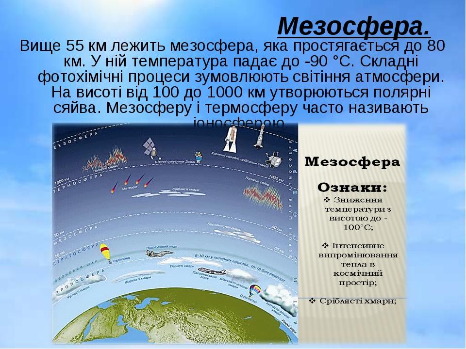 Мезосфера. Вище 55 км лежить мезосфера, яка простягається до 80 км. У ній тем...