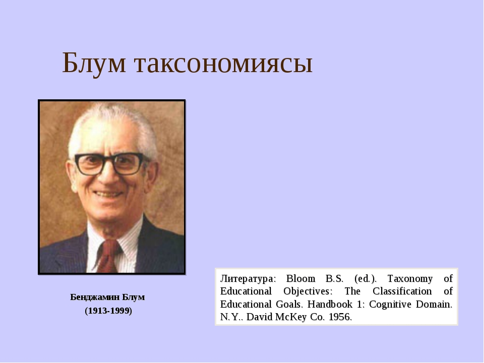 Блум таксономиясы Бенджамин Блум (1913-1999) Литература: Bloom B.S. (ed.). Ta...