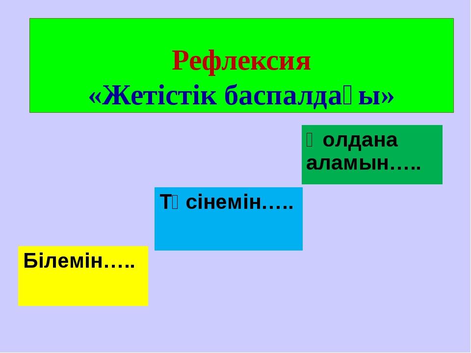 Рефлексия «Жетістік баспалдағы» Білемін….. Түсінемін….. Қолдана аламын…..