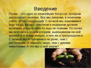 Введение Почва – это одно из важнейших богатств, которым располагает человек.