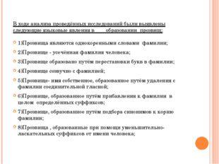 В ходе анализа проведённых исследований были выявлены следующие языковые явле