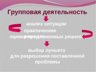 Групповая деятельность анализ ситуации оценка предложенных решений выбор лучш