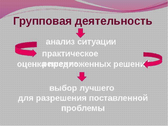 Групповая деятельность анализ ситуации оценка предложенных решений выбор лучш...