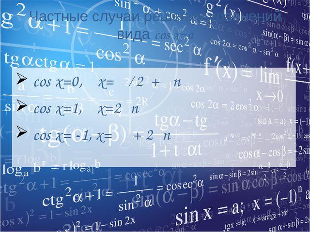Частные случаи решения уравнений вида cos x=a cos x=0, x= π ∕ 2 + πn cos x=1,...