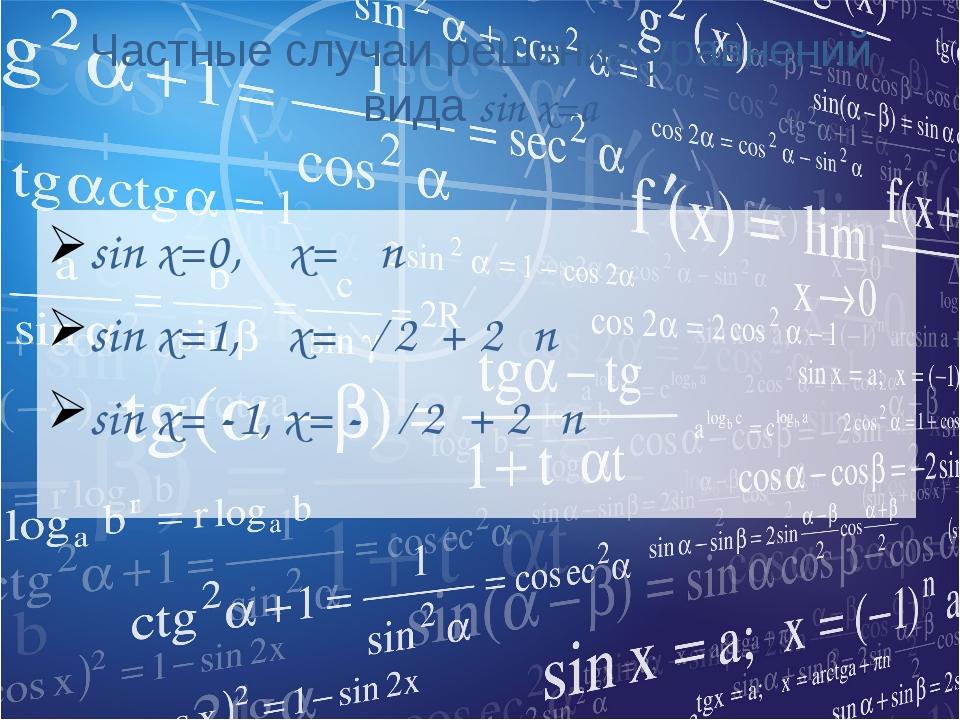 Частные случаи решения уравнений вида sin x=a sin x=0, x= πn sin x=1, x=π ∕ 2...