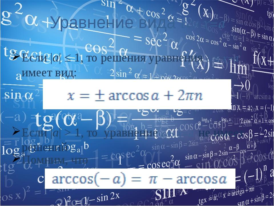 Уравнение вида cos x=a Если |а| ≤ 1, то решения уравнения cos x=a имеет вид:...