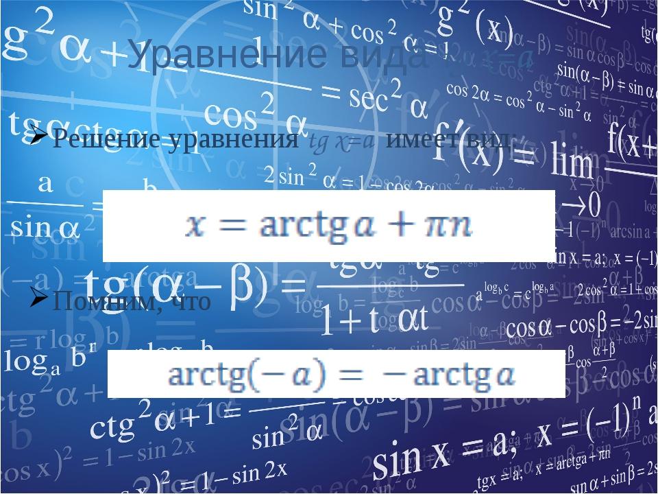 Уравнение вида tg x=a Решение уравнения tg x=a имеет вид: Помним, что