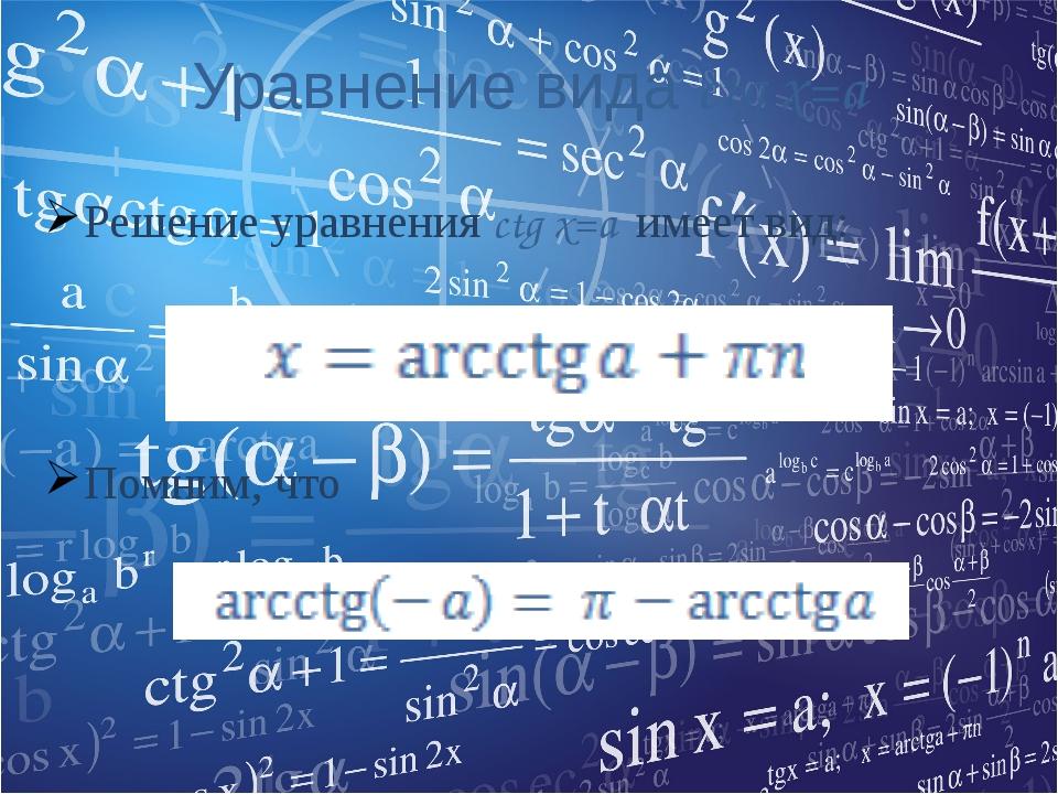 Уравнение вида ctg x=a Решение уравнения ctg x=a имеет вид: Помним, что