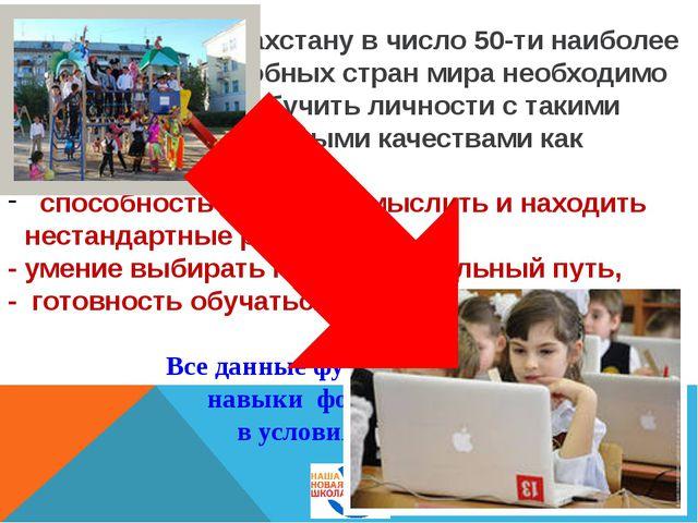 Чтобы войти Казахстану в число 50-ти наиболее конкурентоспособных стран мира...