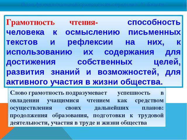 План функциональной грамотности определил 3 области: Грамотность чтения- спо...