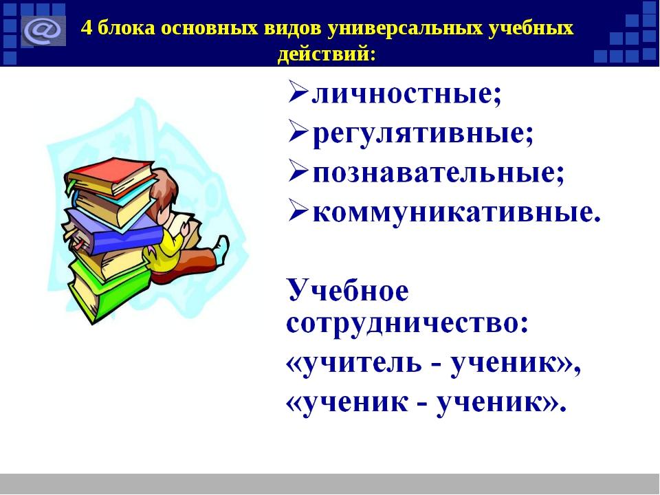 4 блока основных видов универсальных учебных действий: