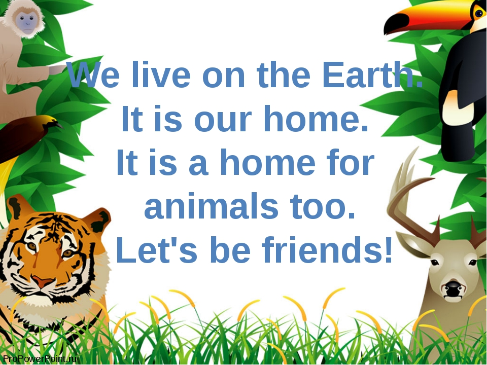 We live on the Earth. It is our home. It is a home for animals too. Let's be...