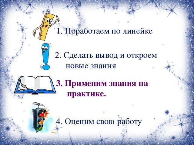 1. Поработаем по линейке 2. Сделать вывод и откроем новые знания 3. Применим...
