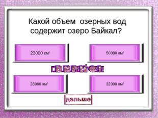 Какой объем озерных вод содержит озеро Байкал? 23000 км3 28000 км3 50000 км3