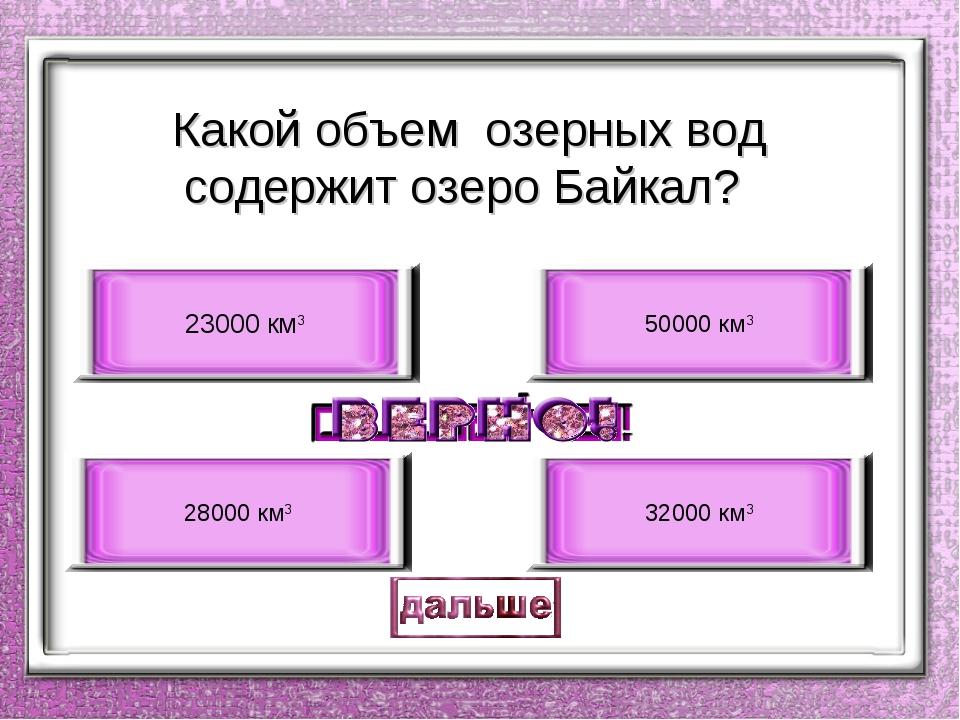 Какой объем озерных вод содержит озеро Байкал? 23000 км3 28000 км3 50000 км3...