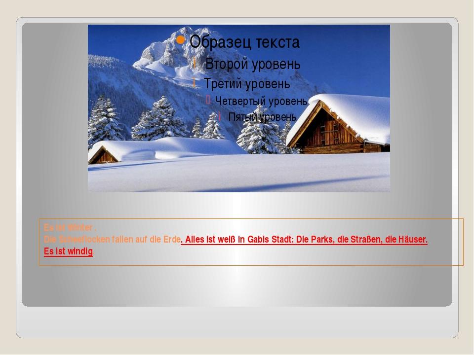 Es ist Winter . Die Scheeflocken fallen auf die Erde. Alles ist weiß in Gabis...