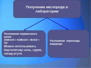 Разложение пероксида водорода Разложение перманганата калия 2KMnO4 = K2MnO4 +