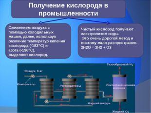 Получение кислорода в промышленности Чистый кислород получают электролизом во