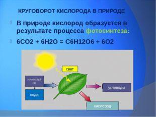 КРУГОВОРОТ КИСЛОРОДА В ПРИРОДЕ В природе кислород образуется в результате про