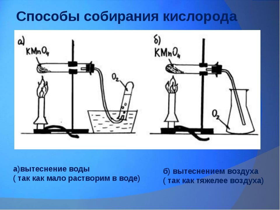 Способы собирания кислорода а)вытеснение воды ( так как мало растворим в воде...