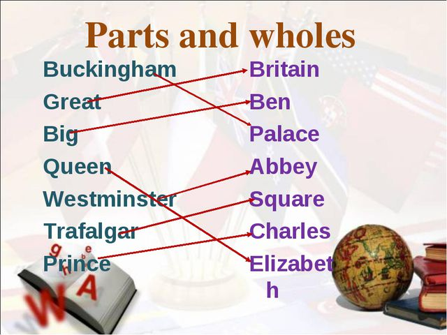 Parts and wholes Buckingham Great Big Queen Westminster Trafalgar Prince Brit...