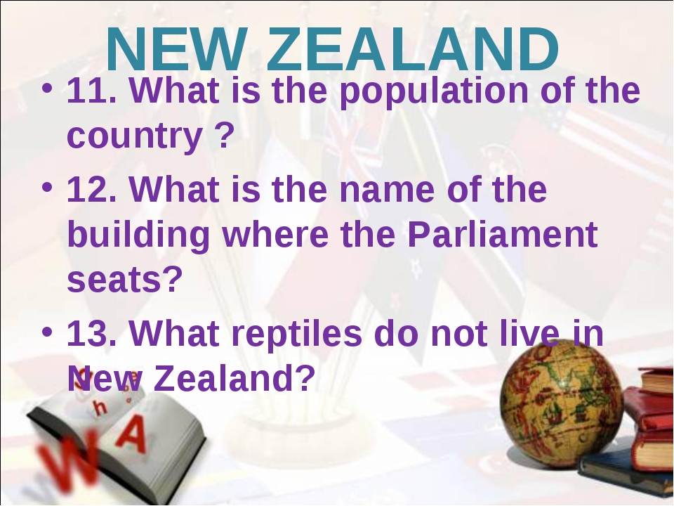 NEW ZEALAND 11. What is the population of the country ? 12. What is the name...