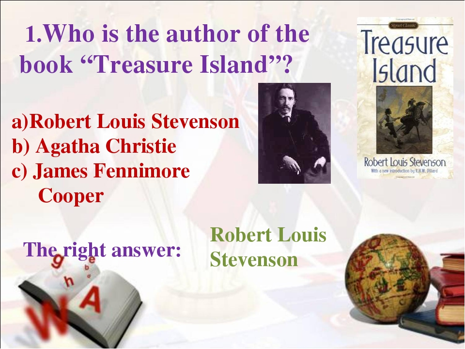 a)Robert Louis Stevenson b) Agatha Christie c) James Fennimore Cooper The rig...