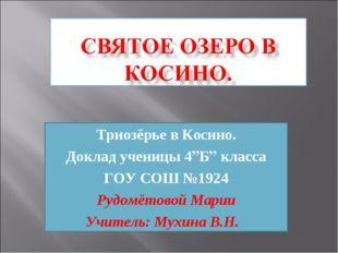 """Триозёрье в Косино. Доклад ученицы 4""""Б"""" класса ГОУ СОШ №1924 Рудомётовой Мари"""