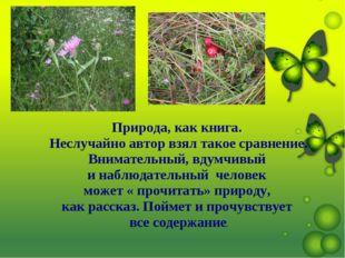 . Природа, как книга. Неслучайно автор взял такое сравнение. Внимательный, вд