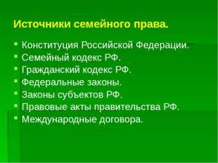 Источники семейного права. Конституция Российской Федерации. Семейный кодекс