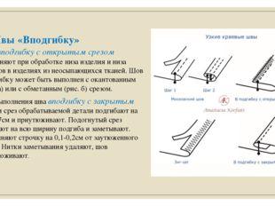 Швы «Вподгибку» Шов вподгибку с открытым срезом применяют при обработке низа