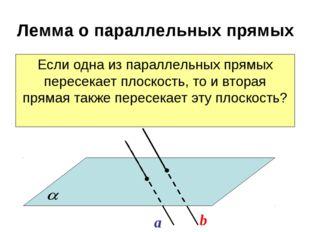 Лемма о параллельных прямых Если одна из параллельных прямых пересекает плоск