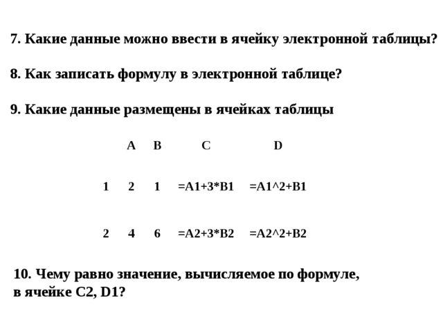 7. Какие данные можно ввести в ячейку электронной таблицы? 8. Как записать фо...