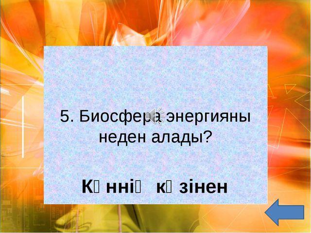 5. Биосфера энергияны неден алады? Күннің көзінен
