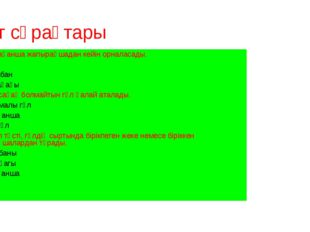 Тест сұрақтары 1)Тостағанша жапырақшадан кейін орналасады. А.Күлте В.Гүл таба