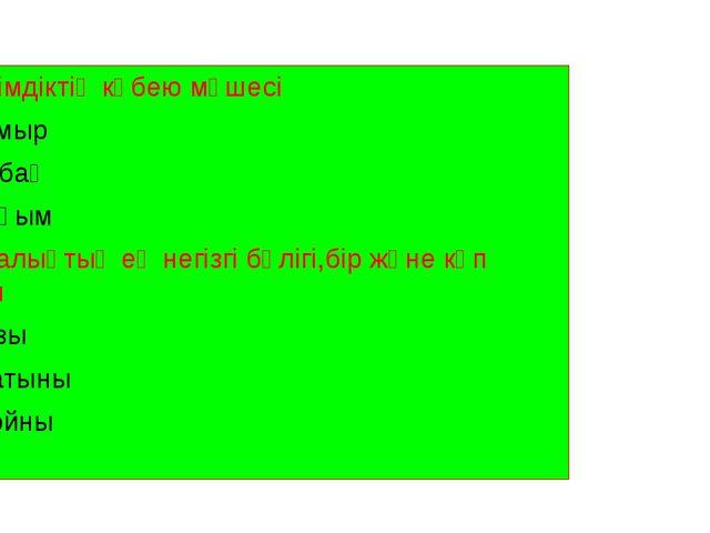 4)Өсімдіктің көбею мүшесі А.Тамыр В.Сабақ С.Тұқым 5)Аналықтың ең негізгі бөлі...