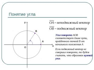 Понятие угла В А Угол поворота АОВ соответствует длине пути, пройденного точк
