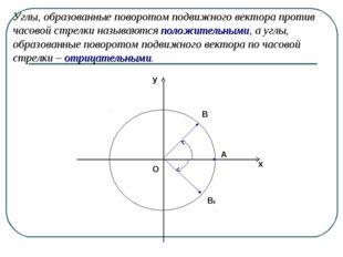 Углы, образованные поворотом подвижного вектора против часовой стрелки называ