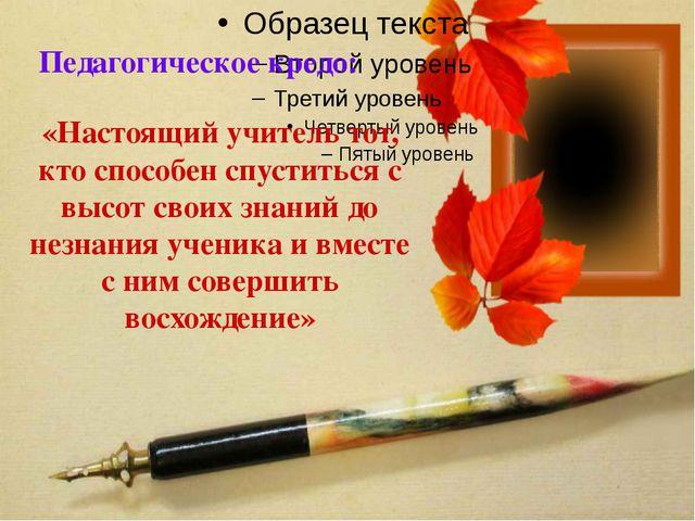 Педагогическое кредо: «Настоящий учитель тот, кто способен спуститься с высо...